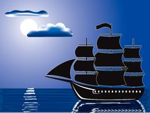 Moonlight sail Royalty Free Stock Images