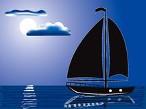 Moonlight sail. Vector illustration of a silhouette of sailing yacht illuminated by full moon Stock Images