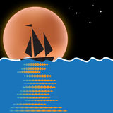 Moonlight Sail. A moonlit sailboat is featured in an abstract background illustration with space for text Royalty Free Stock Photo