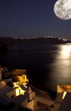 Moonlight in santorini Stock Photography