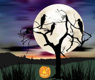 Moonlight scary landscape with ravens, silhouette of tree and pumpkin. Dark scary halloween landscape with silhouette of tree, moon, birds and pumpkin Royalty Free Stock Photography