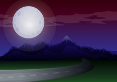 A moonlight scenery along the road Stock Images