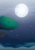 A moonlight scenery Stock Photos