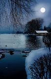 Moonlight scenery in winter Royalty Free Stock Image