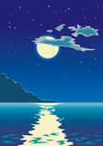 Moonlight on the sea. Moonlit path on the sea Vector Illustration