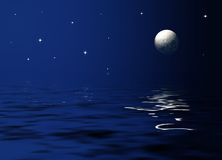 Moonlight at sea Stock Photos