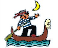 Moonlight singing gondolier. Royalty Free Stock Images