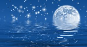 Moonlight Sky. Moon and stars reflecting in water Vector Illustration