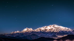 Moonlight on snowy mountain peak Royalty Free Stock Photography