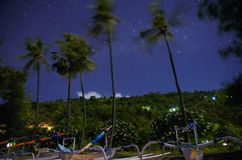 Moonlight stars beach Bali. With boats, Amed Stock Images