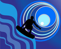 Moonlight surfing. Vector illustration of a wakeboarder on blue waves Royalty Free Stock Photo