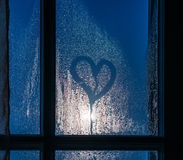 Free Moonlight Through The Window. Sweaty Glass And Heart Stock Photos - 37042073