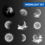Moonlight transparent set. Moonlight set with moon phases with clouds on transparent background vector illustration Stock Photo