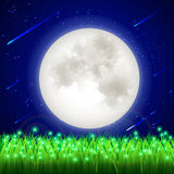Moonlight vector illustration. The moon of the night starry sky meteorite field of fireflies Stock Photo