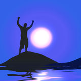 Moonlight Victory. A silhouette of a man with his arms raised up in the air in front of the moon Stock Photos