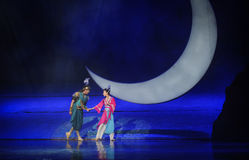 In the moonlight walk-Hui ballet moon over Helan Stock Photo