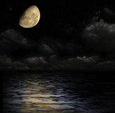Moonlight on the water. Night sky with stars, and with a moon royalty free illustration