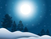Moonlight in Winter. A background illustration featuring a moonlight scene with dark blue sky, snow and trees on the horizon Stock Photography