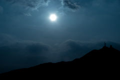Moonlighting. Moonlight Landscape Under Cloudy Sky royalty free stock photo