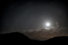 Moonlighting. Moonlight Landscape Under Cloudy Sky stock images