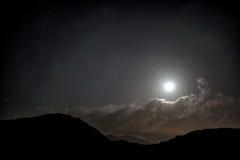 Moonlighting. Moonlight Landscape Under Cloudy Sky Stock Images