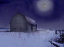 Moonlit Barn. Moonlit old barn in a snowy field stock photos