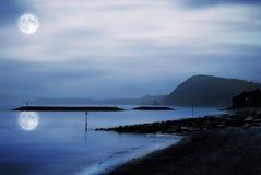 Moonlit beach Stock Images