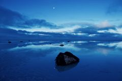 Moonlit beach Stock Photos