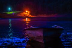 Moonlit boat stock images