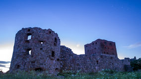 Moonlit castle ruin Hammershus Stock Images