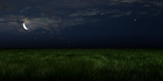 Moonlit meadows. An illustration of a moonlit meadow with stars and clouds in the sky stock photos