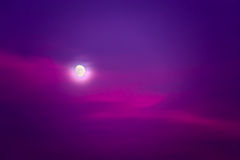 Moonlit night. Purple night sky and moon light Stock Photo