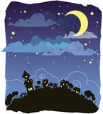 Moonlit night. Night country view in Royalty Free Stock Image