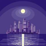 Moonlit night and the coastal city Stock Photo