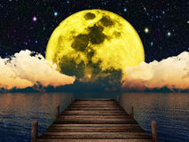 Moonlit Night.Elements Of This Image Furnished By Nasa. Stock Images