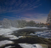 Moonlit night on the forest river Royalty Free Stock Images