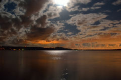 Moonlit night in the lake. Stock Photo