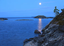 A moonlit night on lake Ladoga Royalty Free Stock Photo
