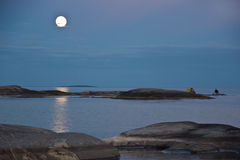 A moonlit night on lake Ladoga Royalty Free Stock Photos