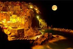 Moonlit night Manarola, Italy Royalty Free Stock Images