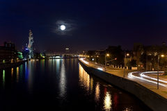 Moonlit night over the Moscow. City Royalty Free Stock Images