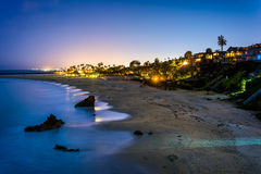 Moonlit night view of the Pacific Ocean   Stock Photography
