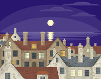 Moonlit night in the village Stock Photo