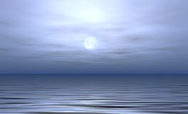 Moonlit Ocean. Illustration of calm night with moon shining against ocean Stock Photos