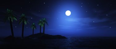 Moonlit palm tree island Stock Photo