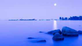 Moonlit path on the lake surface Royalty Free Stock Image