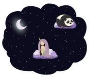 Moonlit princess with panda Stock Images