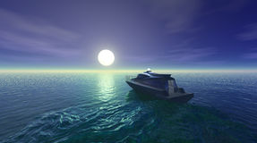 Moonlit resort seascape background Stock Photography