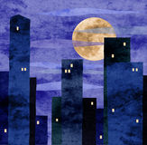 Moonlit town. Collage with paper texture - stylized night town, realistic full moon Stock Image