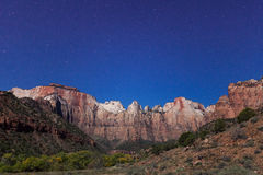 Moonlit Zion National Park Night Landscape Royalty Free Stock Photos